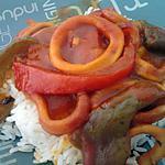 recette Tajine de calamars aux trois poivrons façon sétoise