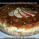 recette Cheesecake aux pommes-pistaches et crème caramel au beurre salé
