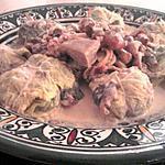 Choux farcies aux trois viandes et 4 epices sauce forrestiére