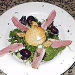 recette salade de canard sauvage séché aux champignons et noix, choux à la mousse de foie gras.