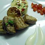 recette Thon grillé, taboulé à la menthe, sauce au yaourt et huile de citron