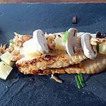 recette Dos de sébaste, crevettes grises, dés de pomme de terre, petits oignons primeurs