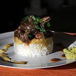 recette civet canard , pois du cap, riz blanc accompagné d'un rougail mangues