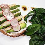 Tartine truite/avocat et sa salade d'épinards