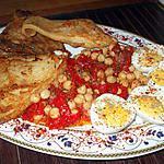 recette Ailes de Raie..accompagnées de salade de pois-chiche aux poivrons.rouges ..et oeufs durs.....à l'oriental...
