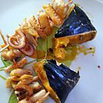 recette Brochettes de poulpe à l'huile de roucou au patisson colérique