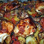 recette Poulet au four.... sur son lit de pommes de terre ...tomates......et citrons confits....