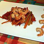 recette Sauté de crevettes et julienne de légumes sauce soja