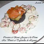 recette Crevettes et Saint Jacques à la Crème accompagnés de Riz Vénéré et Tagliatelles de Légumes