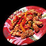 recette Emincé de poulet aux 3 poivrons à l' Actifry !