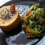 Purée de patate douce et julienne de légumes a ma sauce