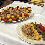 Magrets de canard aux poivre  vert et ses petits légumes.