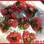 Verrine Carpaccio de Boeuf Parmesan/Basilic