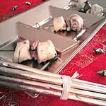 Brochette de boudins aux noix de st jacques et foie gras