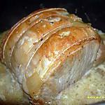 recette roti de porc aux petits oignons , sauce au lait