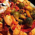 recette Sauté de poulet aux choux de bruxelles et aux poivrons ! ( à l'Actifry )