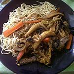 recette Boeuf sauté et nouilles a la chinoise