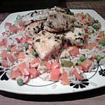 Dés de poisson et riz au legumes