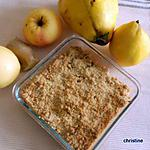 recette crumble coing-pomme-gingembre