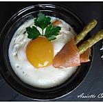 recette Oeuf Cocotte aux Saumon fumé et Aserges vertes