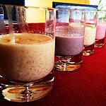 recette Riz au lait nature, rose et violette