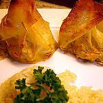recette Aumônières au Poireaux St-Jacques et Crevettes