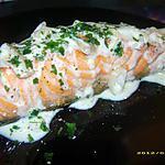recette pavé de saumon à la crème de vin blanc