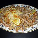 """recette Emincé de Porc au citron...accompagné de  champignons et """" Farfelle""""..( Noeuds Papillons...)..."""