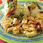 recette aiguillettes de poulet à la crème et poivrons