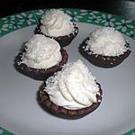 recette tartellettes mousse coco sur pate sablé chocolat