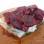 recette pavés de cabillaud en écailles de chorizo sur son lit de crème de poivrons