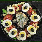 recette Salade complète avec sardines, artichauts, thon, oeufs durs et crudités