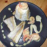 recette Filets de flétan..sauce curry...accompagnés de  crevettes et risotto à la Kapiluka...