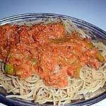 recette Spaghettis semi-complets à la sauce tomate thon/poireaux