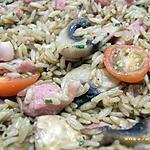 riz chaud poêlé aux champignons