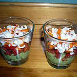 recette Verrines avocats/poivrons/surimi