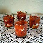 recette Verrines poivrons marinés/chèvre/cantal