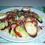 recette Salade chèvre/lardons/poivrons