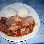 poulet mijoté poivrons/champignons