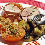 recette Filet mignon de porc farci, lardé et sa petite garniture