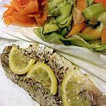 recette Filet de poisson en papillote à la vapeur et ses légumes en tagliatelle