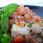 recette pavés de cabillaud froids marinés, sauce vierge