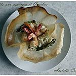 recette Risotto aux asperges et gambas dans un panier croustillant