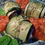 recette roulés d'aubergine et courgette farcis de lotte