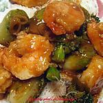 Sauté de crevettes , sauce au jus d'orange