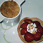recette tartelette aux fraises et crème vanille et pommes aux crumbel