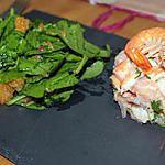 recette Tartare de saumon/crevette revisité accompagné de sa salade de jeunes pousses d'épinards