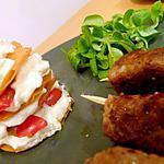 recette Mille-feuilles nuageux et brochettes épicées