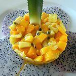 Carpaccio de pitaya tartare de mangues , fruit de la passion et ananas