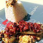 Filet de colin gratiné à la chapelure de chorizo et sa sauce aux chorizo poivrons